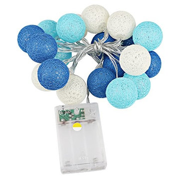 Blue Led Cotton Ball Fairy Festival Lantern Wedding Party Xmas Decor Beautiful String Lights Are Perfect For Decoration.