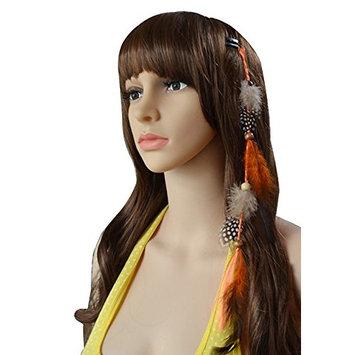 5PCS Girls Handmade Colourful Bohemia Feather Hair Extensions Hair Clip Comb Indian Hippie Headpiece Hair Decoration Headdress Headband Hairpin DIY Accessories (Colour Random)