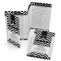 Chevron Black and White - Baby Shower Games Pack - 5 Games in 1 - Fabulous 5 - Set of 12