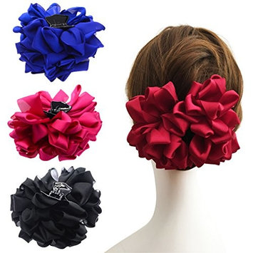 4 Pack Large Silk Flower Bow Hair Claw Jaw Clips For Women Hair clamps