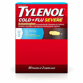Tylenol Cold + Flu Severe Medicine Caplets for Cold, Flu, Fever & Cough Relief, 50 Pouches of 2 ct.