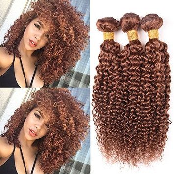 Peruvian Virgin Curly Hair 3 Bundles Blonde Remy Human Hair Weave Jerry Curly Extensions Pure Color #30 []