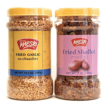 Maesri Fried Shallot & Fried Garlic Combo Pack | Ingredient & Garnish widely used in Asian Cooking | Fried Shallot 7 Ounce Jar | Fried Garlic 10.5 Once Jar