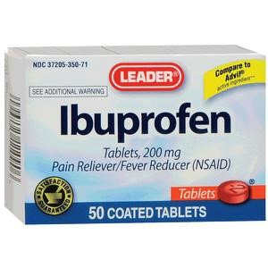 Leader Ibuprofen Tablets 200mg, (50 Count) BO/1
