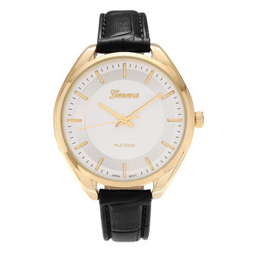 Geneva Platinum Women's Round Face Faux Crocodile Leather Strap Fashion Watch