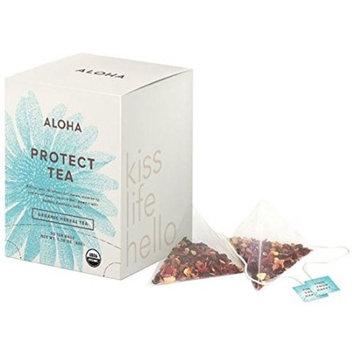 Aloha Protect Tea, Echinacea Elberberry Elderflower; Ayurvedic Herbs, 15 Ct