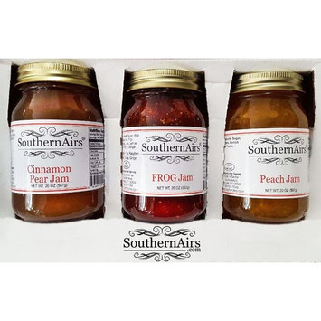 SouthernAirs Old-Fashioned Jam Trio/FROG Jam/Cinnamon Pear Jam/Peach Jam/All-Natural/in Gift Box 3 - Pack