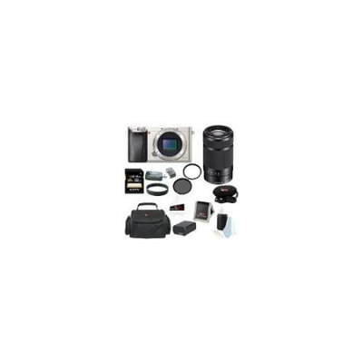 Sony Alpha a6000 (ILCE6000/S ILCE6000S ILCE6000-S) 24.3 MP Interchangeable Lens Camera (Body Only in Silver) + Sony SEL55210/B E 55-210mm F4.5-6.3 OSS E-mount Zoom Lens (Black) + Sony 32GB SD Card +