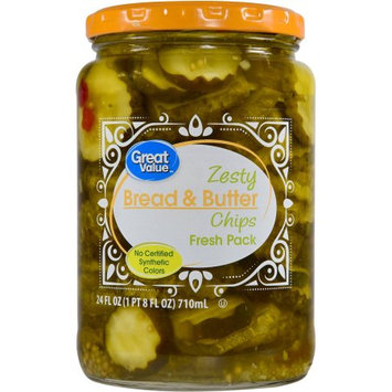 Mt. Olive Pickle Co Inc Great Value Zesty Bread & Butter Chips, 24 oz