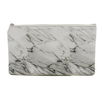 Buorsa Fashion Marble White Cosmetic Bag with Gold Zipper for Makeup Storage, Change Holder, Coin Wallets