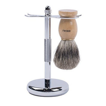Escali 100% Pure Badger Shaving Brush and Anti-Slip Razor Brush stand– Solid Construction You Can Rely On