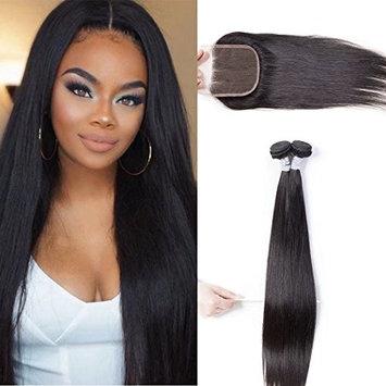 11A Peruvian Straight Virgin Hair Weave Human Hair 3 Bundles with Closure 100g/pc Unprocessed Virgin Hair Extensions Natural Color