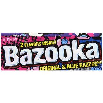 Bazooka Original and Blue Razz Bubble Gum, 10 Count (Pack of 12)