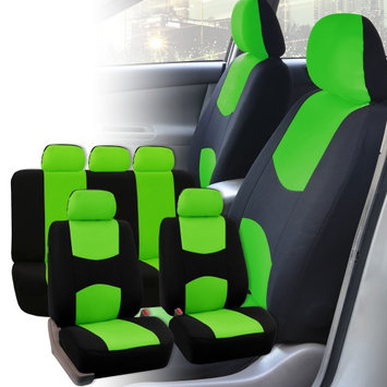 Fh Group FH-FB050115 Flat Cloth Car Seat Covers, Full Set with Solid Bench, Green / Black