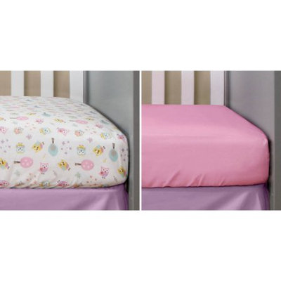 Bananafish Studio Sweet Owl Girl Set of 2 Crib Sheets, Toss Print/Pink Solid