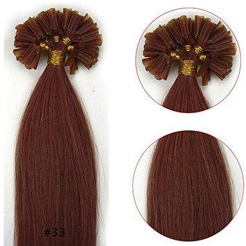 VANLINKE Fusion Keratin Pre Bonded U Nail Tip Remy Real Human Hair Extensions Straight 100s 20inch 0.5g Per Strand