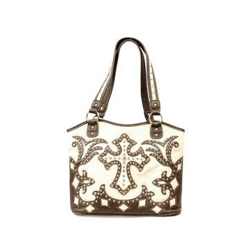 Blazin Roxx Western Handbag Womens Bucket Cross Brown Cream N75446139