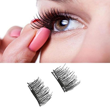 CSSD 4pcs (1 Pair) Magnetic Eye Lashes 3D Reusable False Magnet Eyelashes Extension (Full size, Black)
