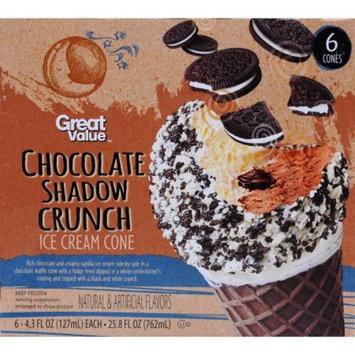 Great Value Chocolate Shadow Crunch Ice Cream Cones,-4.3 oz, 6 ct