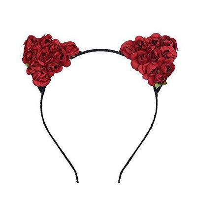 Merroyal Cat Ears Flower Headband Hairband Hen Party Bride Hair Fancy Dress Cosplay