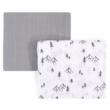 Yoga Sprout Baby Boy and Girl Muslin Swaddle Blanket, 2-Pack, Mountain