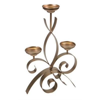 Benzara Splendid Metal Candelabra With Three Light Stand, Gold