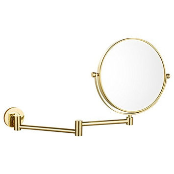 DOWRY 8-Inch Double-Sided Wall Mounted Makeup Mirror with 10x Magnification,14.4-Inch Extension,Gold Finish 1305J(8in,10x)