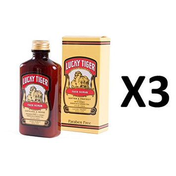 [ TRENDING PACK OF 3] LUCKY TIGER FACE SCRUB SOFTEN AND PROTECT 8 OUNCE EA: Beauty