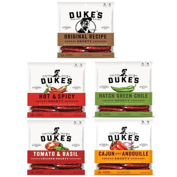 Dukes Smoked Sausages 5 Flavors 7 G protein - Original Recipe 5 oz, Hot & Spicey 5 oz, Hatch Green Chile 5 oz, Tomato & Basil 4 oz, Cajun style Andouille 5 oz
