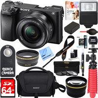 Sony Alpha a6300 4K Mirrorless Digital Camera 16-50mm Zoom Lens + 64GB 16Pcs Kit