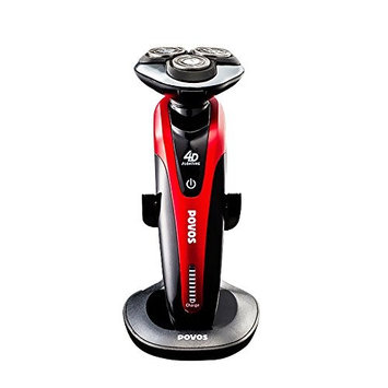 Povos 4D Electric Razor, Mens Rechargeable Rotary Shaver With LED Battery Indicator, Use Wet or Dry
