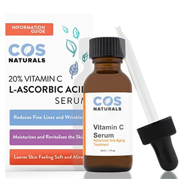 COS Naturals 20% Vitamin C Serum For Face with L-Ascorbic Hyaluronic and Ferulic Acid, 1 fl oz