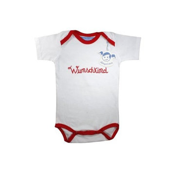 Baby body suit/baby grow red with cute embroidery