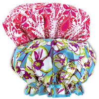 Johnson Smith (Set) Pink And White & Floral Print Soft Sateen Fashion Shower Caps w/ Pouch