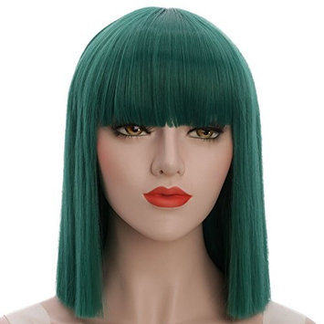 karlery Straight Short Hair Bob Wigs with Flat Bangs Synthetic Wigs for Women Natural As Real Hair