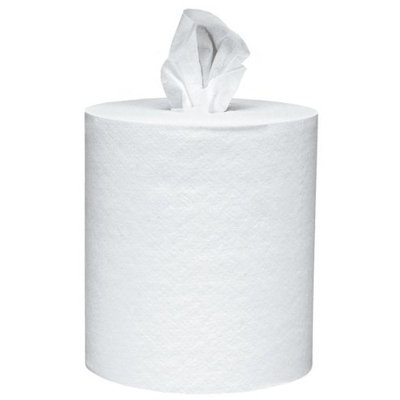 Scott Roll Control Center Pull Paper Towels (01032) with Fast-Drying Absorbency Pockets, Perforated Full-Sized Hand Paper Towels, White (6 Rolls per Case, 4,200 Sheets Total)