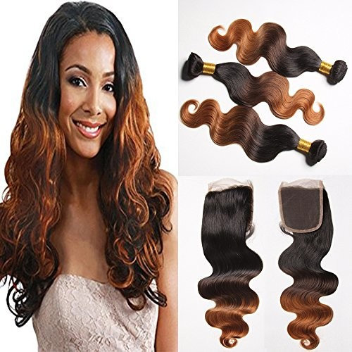 ASHAIR Brazilian Ombre Body Wave Hair 3 Bundles with 4x4 Free Part Lace Closure 7A Unprocessed Virgin Blonde Human Hair Extensions Bleached Knots