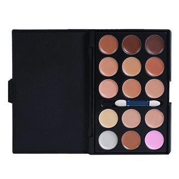 PhantomSky 15 Color Cream Concealer Camouflage Makeup Palette Contouring Kit Combination with Brush - Perfect for Professional and Daily Use