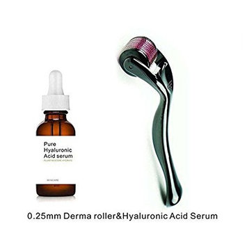 Beauty Style Plastic Derma Roller with 0.25 mm Titanium needles, One Pure Hyaluronic Acid serum