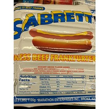 Sabrett Skinless Beef Frankfurters 2.5 Lb (2 Pack)