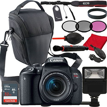 Paging Zone Canon Eos Rebel T7i W/ EF-S 18-55mm IS STM DSLR Camera Kit, Top Loading Camera Case, Filters, Remote, 32GB Memory, + Much More