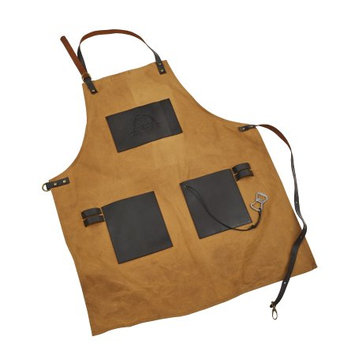 Dansons Inc Pit Boss BBQ Canvas & Leather Grilling Apron w/ Embossed Pockets and Bottle Opener