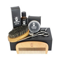 Beard Kit For Men Grooming.Scissors, Beard Oil, Beard Balm, Comb, Brush. Beard Grooming and Trimming Kit For Men. Great Gift For a Men With a Beard! By Captain Jax