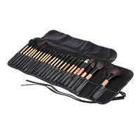 24 pcs Makeup Brushes with Black Case Professional Eye Makeup Cosmetics Brush Set Kit,Wooden Handles