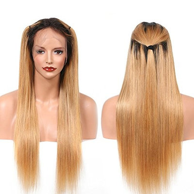 Straight Human Hair Full Lace Wigs 130% Density Brazilian Lace Frontal Wig for Black Women Ombre 1B/27 Color (18