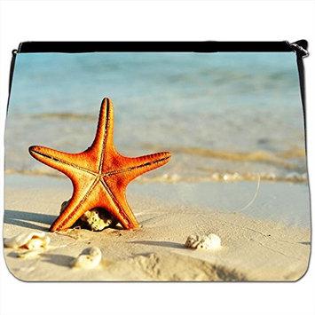 Starfish Sunbathing On Beach Black Large Messenger School Bag [Starfish Sunbathing On Beach]
