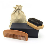 Beard Brush & Comb Set for Men Care - Handmade Wood Grooming & Trimming Kit for Men's Mustache, Beard Shaping and Styling Sets for Dry or Wet Beards – Giftbox and...