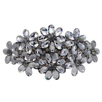 AENMIL Woman's Headwear Acrylic Hair Clip Diamond Crystal Hairpin Upscale Flourishing Hair Accessories - Silver