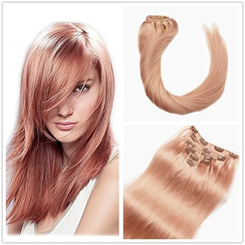 Stella Reina Pastel Blonde Rose Gold Clip In Hair Extensions 7pcs/120g Full Head Baby Pink Rose Color Dye Real Remy Human Hair Straight 20 Inch Long