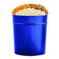 The Popcorn Factory Popcorn Gift Tin, Simply Blue, 3.5 Gallons (Robust Cheddar, White Cheddar, Caramel)